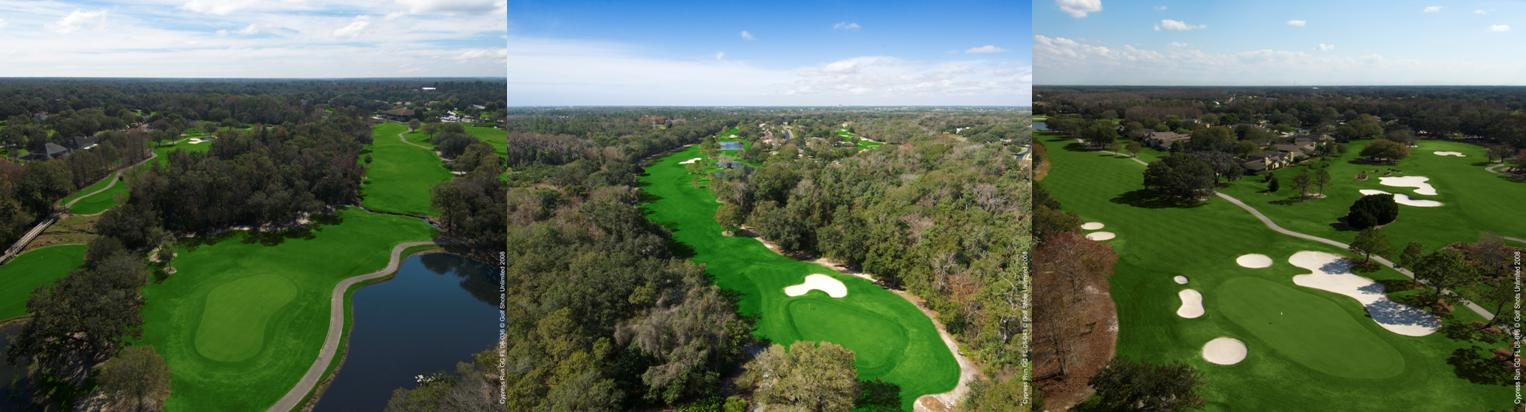 Three side-by-side aerial images of Cypress Run Golf Club