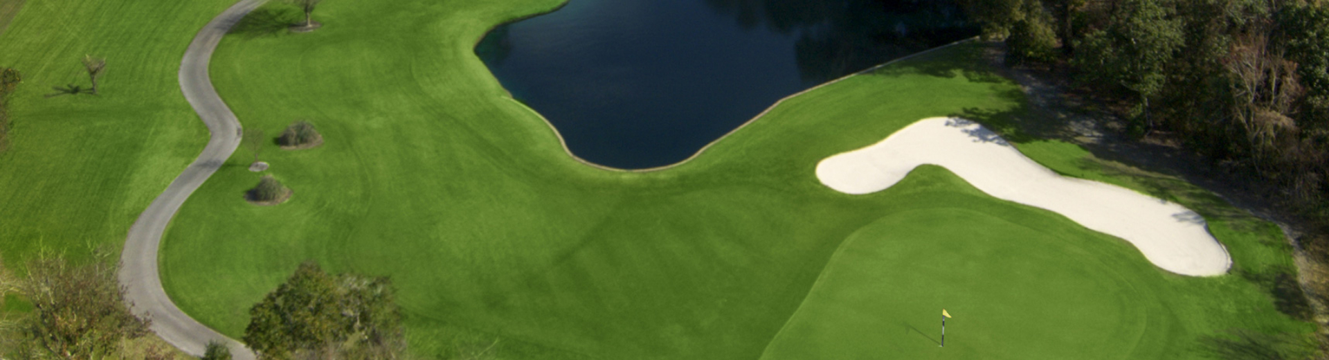 An aerial view of one of the holes on the course at Cypress Run